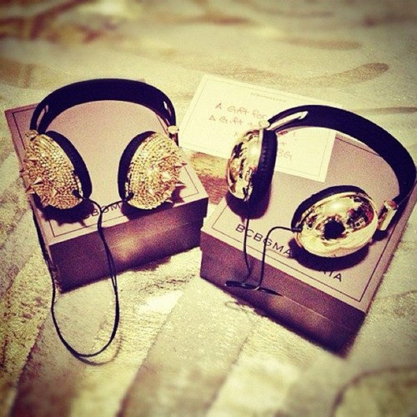 jewels headphones spikes gold swag sexy