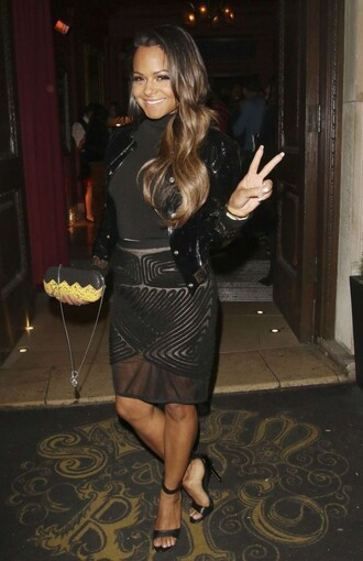 skirt top jacket sheer pencil skirt all black everything sandals christina milian