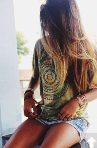 shirt boho shirt bohemian tie dye shirt tie dye top aztec mandala hippie shirt green summer top tie dye