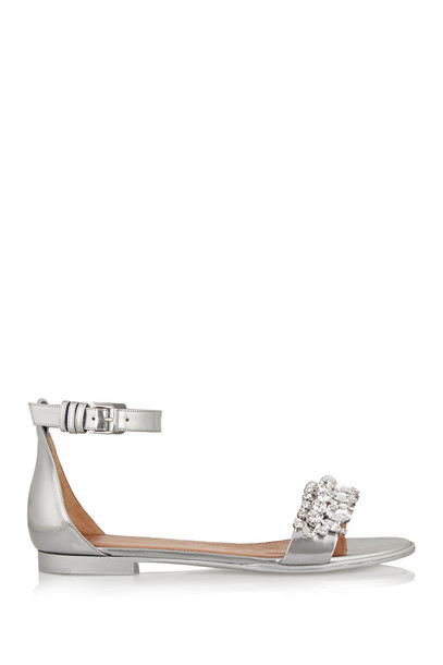 Givenchy metallic sandals leather sandals leather silver shoes
