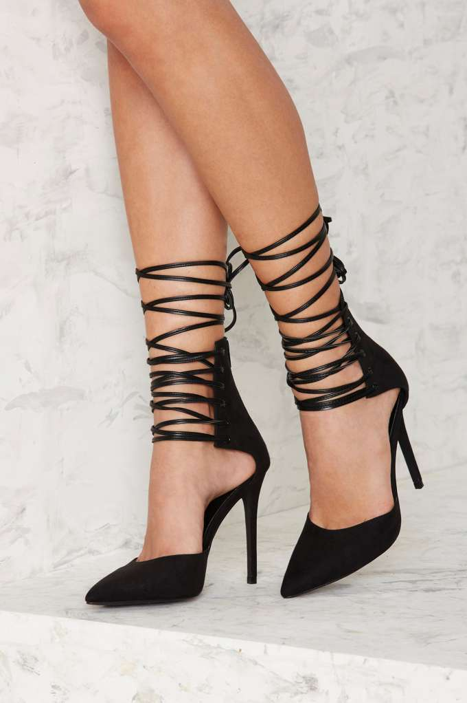 Nasty Gal Strap Minded Lace-Up Heel