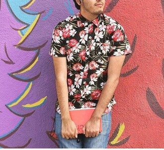 shirt floral hawaiian shirt mens shirt