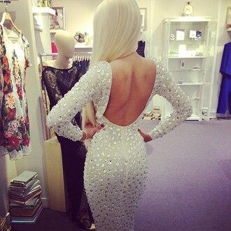 dress white sparkle open back sleeves back sequins grey dress prom dress prom long sleeve dress sequin dress