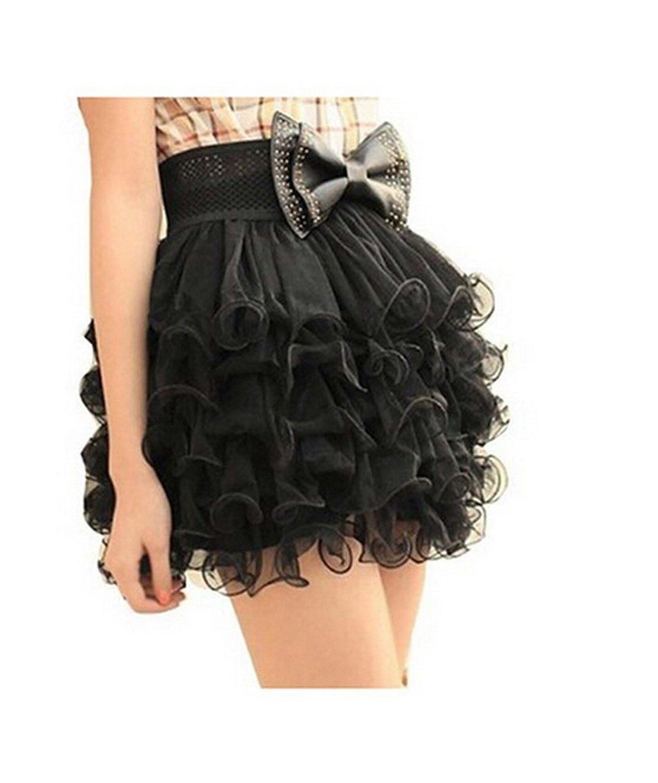 Amazon.com: outop girls black 5 layer full tutu tulle tier mini dress cake skirt: clothing