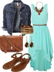 dress,blue dress,turquoise,jacket,bag,shoes,jewels,mint,neon,high low,chiffon dress,hi-lo dress,summer outfits