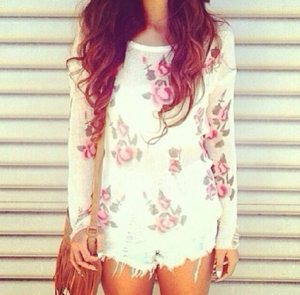 sweater floral flowers