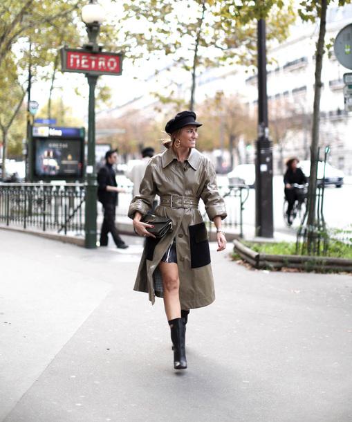 bag leather coat black bag coat grey coat hat fisherman cap boots black boots