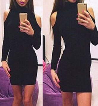 dress sexy black casual girly cute elegant party cute outfits cut-out dress long sleeves midi dress feminine bodycon dress beautiful adorable outfit fall outfits off the shoulder rose wholesale selfie trendy winter outfits high neck instagram chic all black everything christmas hot classy sexy dress