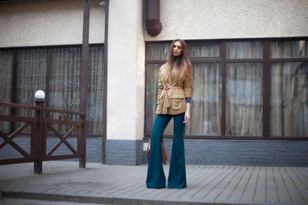 fashion agony blogger jacket belt flare pants 70s style pants