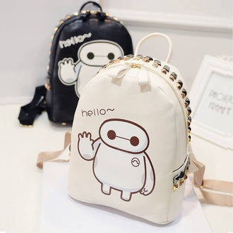 bag tadashi kawaii fashion studs white black backpack back to school anime cute style baymax home accessory