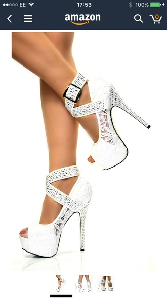 shoes white lace sparkle heels high heels strappy heels strappy