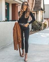 top,black top,belt,brown boots,brown jacket,jeans,denim,black jeans,boots,jacket,suede