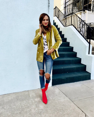jacket velvet blazer tumblr blazer yellow denim jeans blue jeans ripped jeans boots red boots ankle boots sock boots