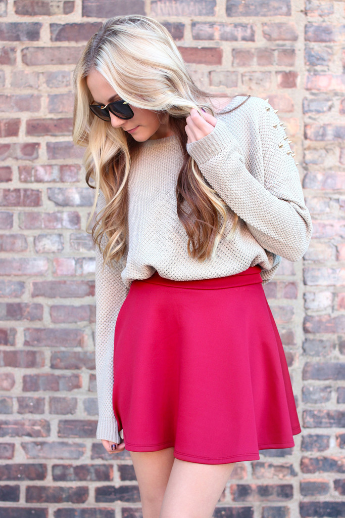 Old School Skater Skirt - Burgundy - UOIONLINE.COM