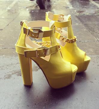 shoes gold chain yellow shoes