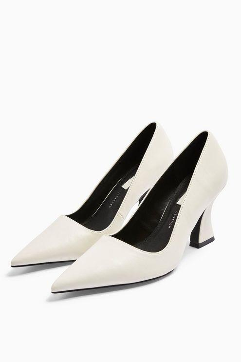 Golden Leather White Flared Heel Shoes - White