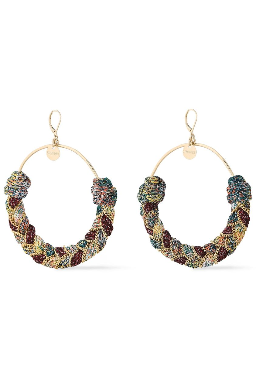 Missoni Woman Gold-tone And Metallic Cord Earrings Gold Size --