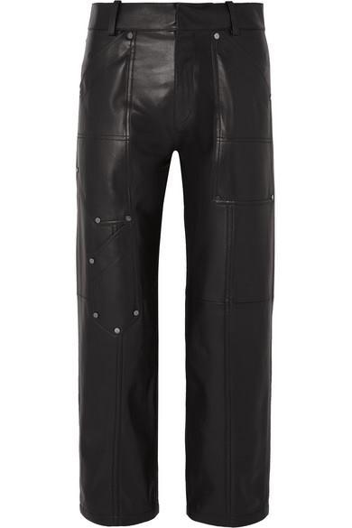 Chloé - Studded Leather Straight-leg Pants - Black - Studded Leather Straight-leg Pants
