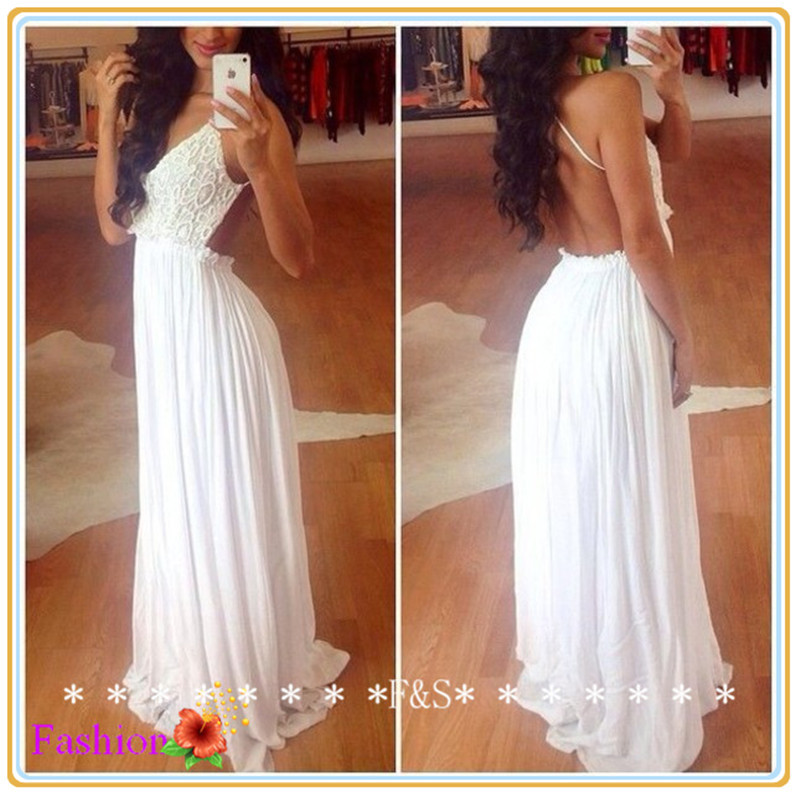 Aliexpress.com : Buy White Maxi Dress 2014 Sexy White Lace Prom Dress Sexy Long Backless Evening Gown Elegant White Chiffon Homecoming Dress 2014 from Reliable dress glove suppliers on Fashion Streets