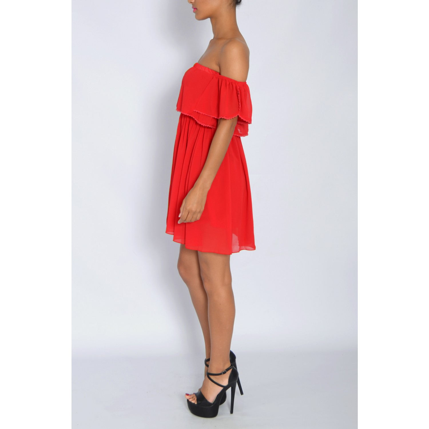 Red Off The Shoulder Frill Dress From Rare London