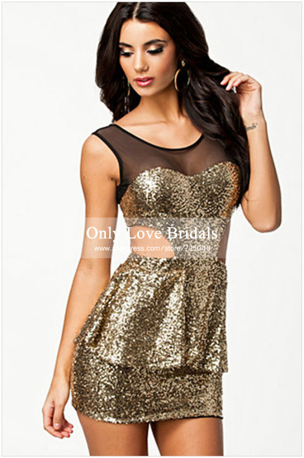 Aliexpress.com : buy vestido de festa brilliant fully gold sequined party gowns sheer scoop sleeveless backless peplum short sheath cocktail dresses from reliable dress patch suppliers on only love bridals