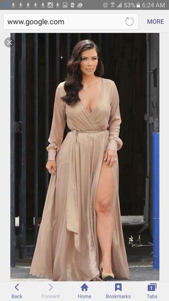 dress beige dress kim kardashian wrap dress maxi dress