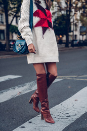 vivaluxury - fashion blog by annabelle fleur: nyfw mini moment,blogger,dress,bag,shoes,fall outfits,brown boots,sweater dress,blue bag,shoulder bag