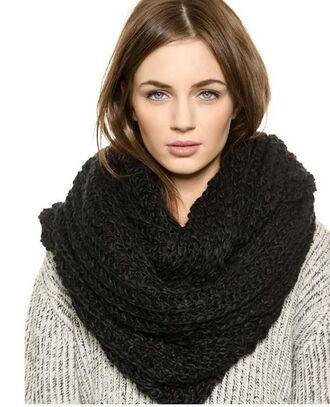 scarf black snood black scarf black neck warmer chunky knit hand knit snood www.ustrendy.com
