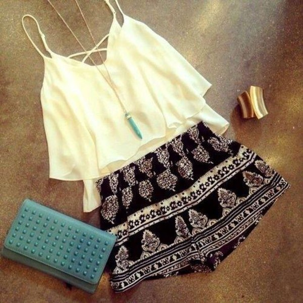 printed shorts white top summer top beach gold bracelet cuff bracelet black and white shorts shorts top ruffle criss cross back summer outfits cute outfits outfit spring outfits turquoise pendant spaghetti strap top
