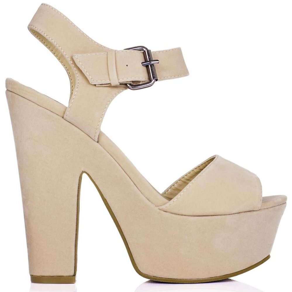 SHELLY Block Heel Buckle Platform Sandal Shoes Cream Suede Style ...