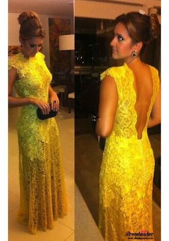 dress yellow dress high neck dress mermaid prom dress backless dress long mermaid dress long yellow dress long prom dress