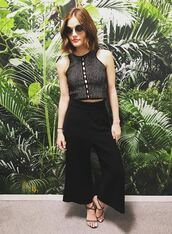 top,wide-leg pants,sandals,lucy hale,sunglasses,instagram,crop tops,high waisted,shoes
