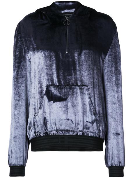 hoodie zip women blue silk sweater