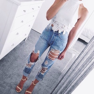 shirt top style fashion boho grunge white fashion toast fashion vibe white top white t-shirt white crop tops denim jeans ripped jeans ripped nude shoes streetwear streetstyle
