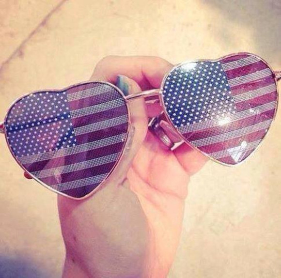 pink sunglasses jewels america nice sunglasses hearts cute american flag red blue