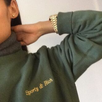 sweater sweatshirt cute sporty rixh green green sweater classy chic gold watch kaki gold khaki vert jumper sweat pull women or sporty and rich shirt