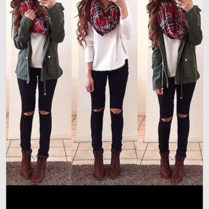 coat green red scarf plaid flannel scarf scarf red