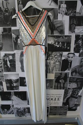 dress maxi dress sequin dress prom dress tumblr sparkling dress long dress aztec white dress