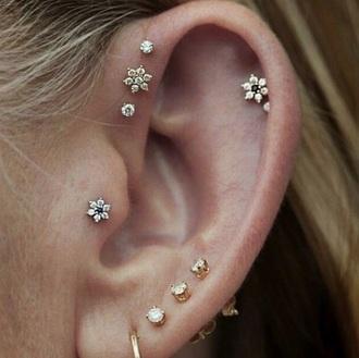 jewels earrings diamonds diamond earrings cute lovely piercing industrilpiecing lobe flowers small