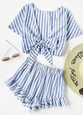 romper,girly,white,blue,stripes,two-piece,matching set,crop tops,crop,cropped,shorts,cute