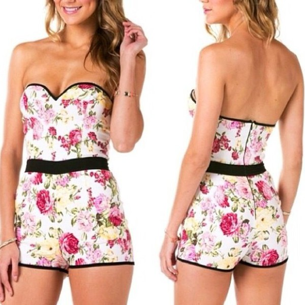 floral summertimefine romper party short