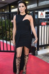 dress,gown,gladiators,eva longoria,cannes,cut-out,all black everything,prom dress