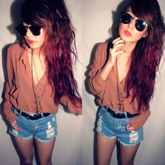 shirt blouse hipster indie boho pale jewels shorts