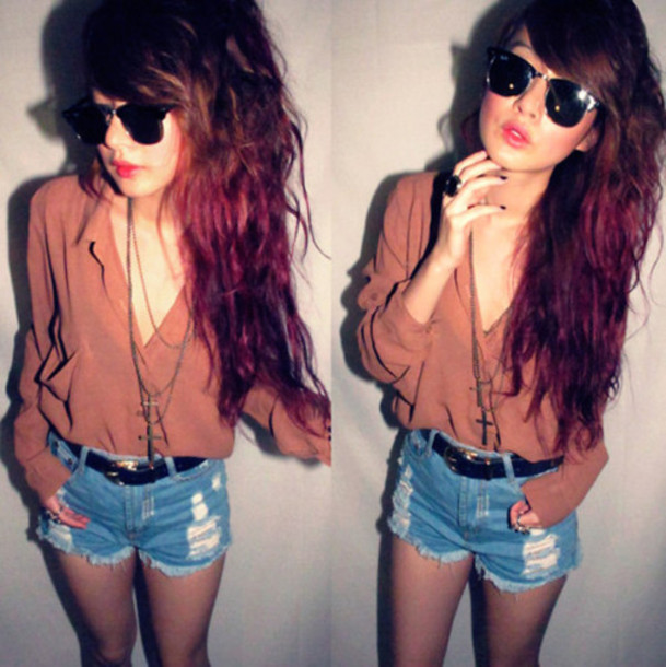 shirt blouse hipster indie boho pale hipster jewels shorts