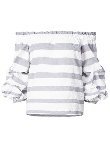 Alexis - puffed sleeve top - women - Cotton/Polyamide - S, Blue, Cotton/Polyamide