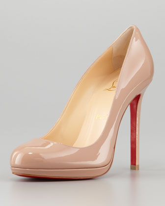 Christian Louboutin Neofilo Patent Round-Toe Red Sole Pump, Nude - Neiman Marcus