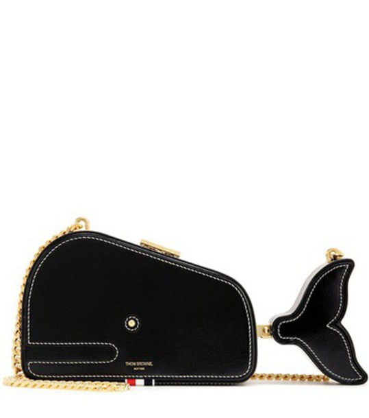 Thom Browne Embellished Leather Shoulder Bag in black