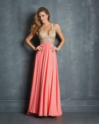 dress prom dress salmon pink sparkly dress lovely halter long prom dress