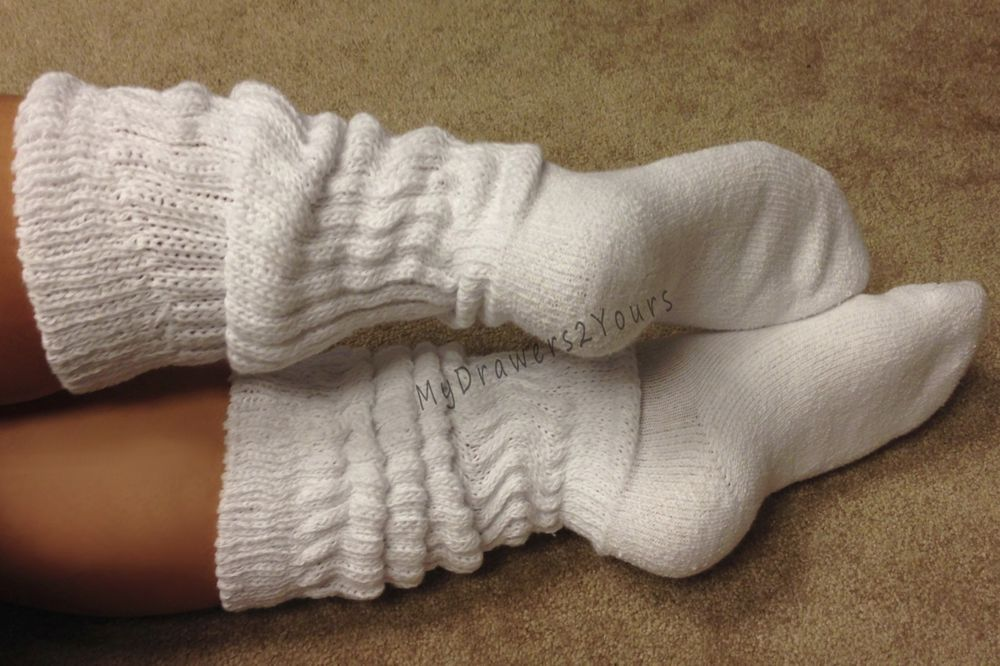 TAMARA Long Knee High OTK Thick Ribbed Leg Warmer Style Slouch Socks WHITE