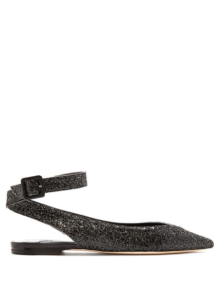 Jimmy Choo glitter flats black shoes